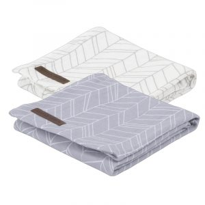 Little Dutch Swaddle doek 70x70 leave grey