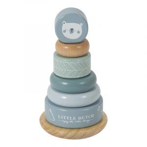 Little Dutch houten tuimelringpiramide blauw