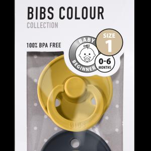 Bibs spenen maat 1 mustard dark demin